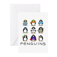 9 Penguins Greeting Cards (Pk of 10)