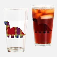 Plaid Dino Drinking Glass