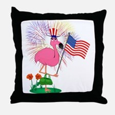 Funny 4th of July Flamingo Throw Pillow