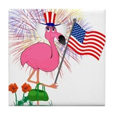 Funny 4th of July Flamingo Tile Coaster
