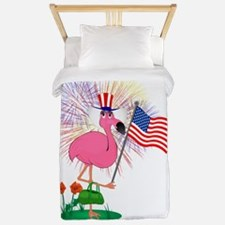 Funny 4th of July Flamingo Twin Duvet