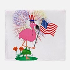 Funny 4th of July Flamingo Throw Blanket