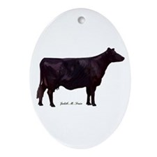 Angus Beef Cow Ornament (Oval)
