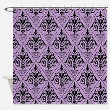 Black & African Violet #29 Shower Curtain