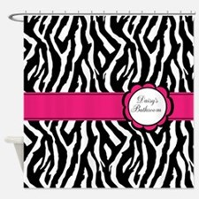 Personalized girly zebra Shower Curtain