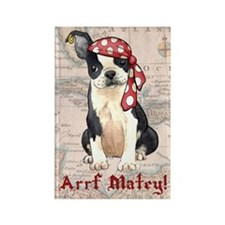 Boston Terrier Pirate Rectangle Magnet