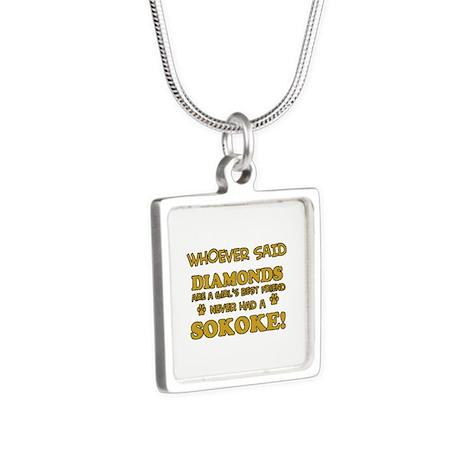 Sokoke cat lover design Silver Square Necklace