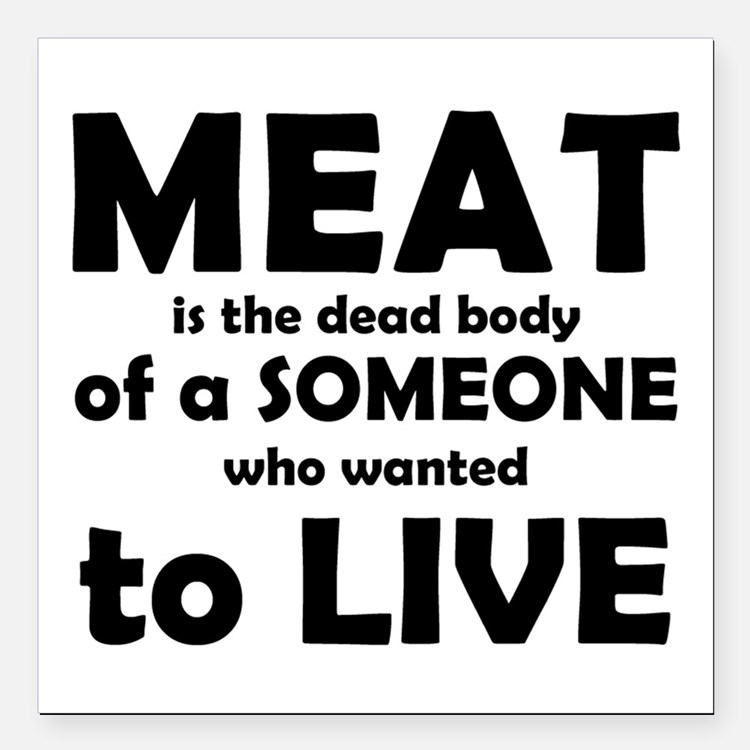 """Meat is a dead body! Square Car Magnet 3"""" x 3"""""""