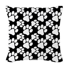 Dog Paws Black Woven Throw Pillow