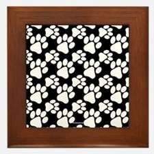 Dog Paws Black Framed Tile