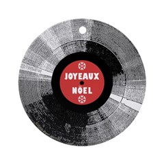 Holiday Record Ornament - Joyeaux/Red (Round)