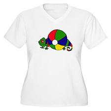 Chameleon Lizard Behind Beachball Plus Size T-Shir