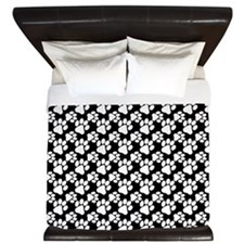 Dog Paws Black-Small King Duvet