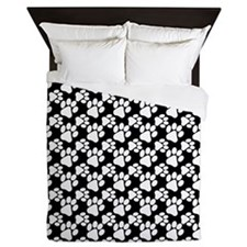 Dog Paws Black-Small Queen Duvet