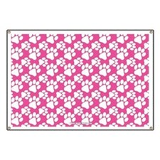 Dog Paws Bright Pink Banner