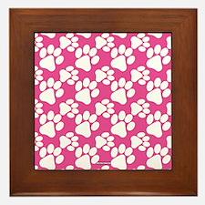 Dog Paws Bright Pink Framed Tile