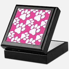 Dog Paws Bright Pink Keepsake Box