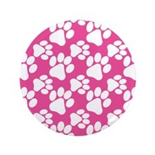 "Dog Paws Bright Pink 3.5"" Button"