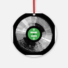 Holiday Record Ornament - Buone/Green (Round)