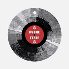 Holiday Record Ornament - Buone/Red (Round)