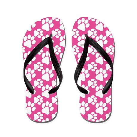Dog Paws Bright Pink-Small Flip Flops