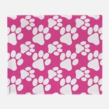 Dog Paws Bright Pink-Small Throw Blanket
