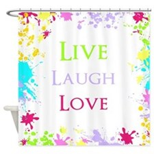 Colorful Live Laugh Love Shower Curtain
