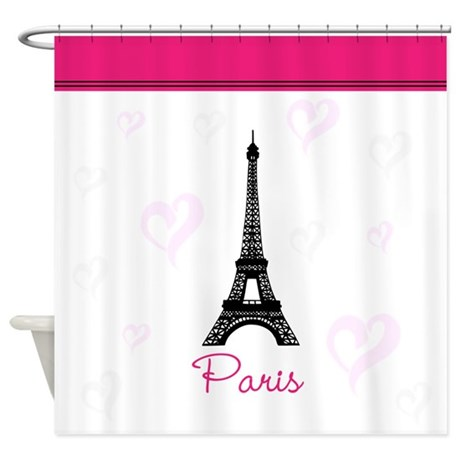 Paris Hearts Shower Curtain By InspirationzStore