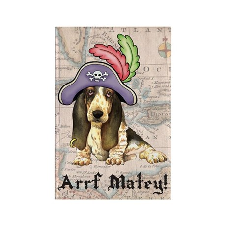 Basset Pirate Rectangle Magnet