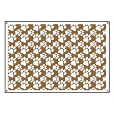 Dog Paws Brown Banner