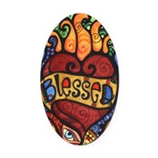 Blessed Flaming Heart Oval Car Magnet