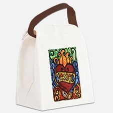 Blessed Flaming Heart Canvas Lunch Bag