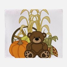 Autumn design with Pumkins and Teddy Bear Throw Bl