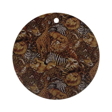 Animal safari jungle pattern ornament round by awesoma