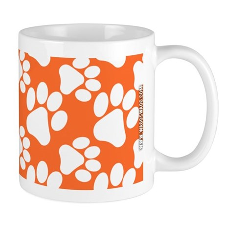 Dog Paws Clemson Orange Mug