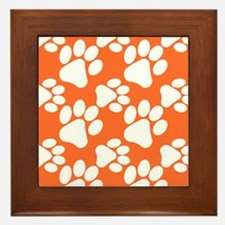 Dog Paws Clemson Orange Framed Tile