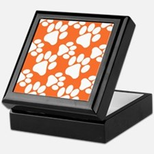 Dog Paws Clemson Orange Keepsake Box