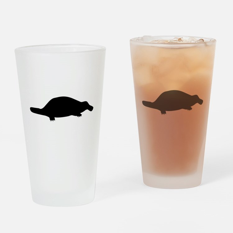Black Platypus Silhouette Drinking Glass