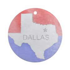 Vintage Dallas Flag Ornament (Round)