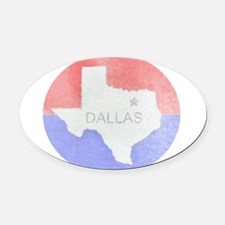 Vintage Dallas Flag Oval Car Magnet