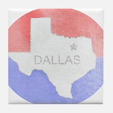 Vintage Dallas Flag Tile Coaster