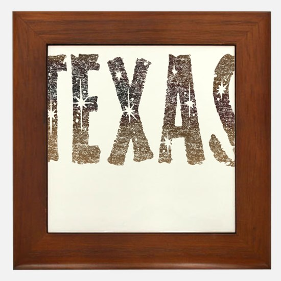 Texas Coffee and Stars Framed Tile