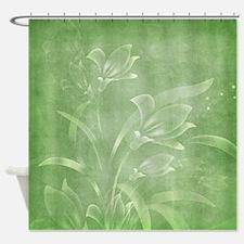 Green Flowered Shower Curtain