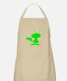 Green Alien With Ray Gun Apron
