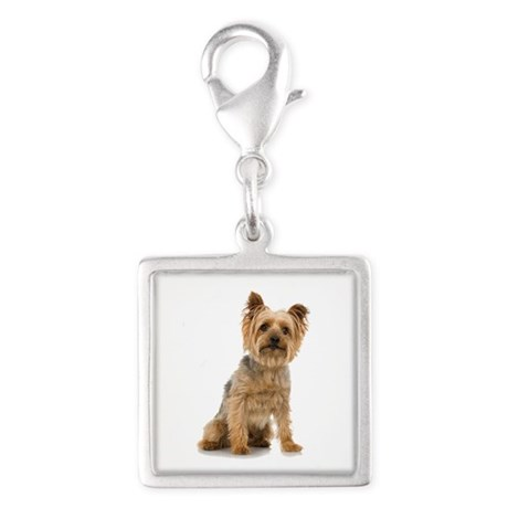 Yorkshire Terrier Silver Square Charm