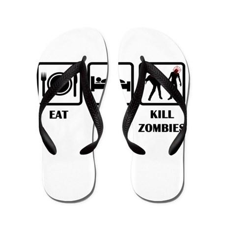 Eat Sleep Kill Zombies Flip Flops