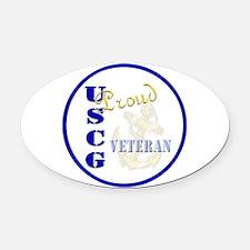 Proud USCG Veteran Oval Car Magnet