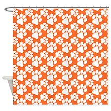 Dog Paws Clemson Orange-Small Shower Curtain
