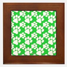 Dog Paws Green Framed Tile