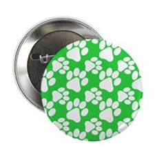 "Dog Paws Green 2.25"" Button"